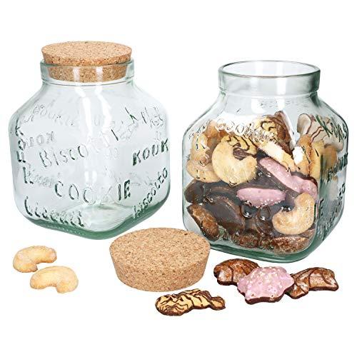 MamboCat Weihnachts Cookie-Glas XL I 2er Set I Keksdose + Naturkork-Deckel I 3,1 Liter I Keks-Schriftzüge Dekor I Christmas Vorratsdose I Recycling-Glas I Aufbewahrung