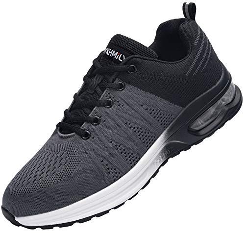 Zapatos de Seguridad Hombre,Zapatillas de Seguridad con Punta de Acero Ultraligero Transpirables Zapatos de Trabajo(Negro Gris,46)