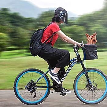 WSJF Panier vélo pour Chien,Panier à vélo Pliable, propulseur de Voyage en Plein air for Chien, Petit Animal Chien Chat Lapin Tour de vélo Porte-Panier, Confortable, Pliable, Détachable, Noir