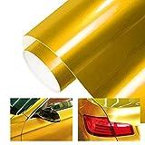 TECKWRAP カーラッピングフィルム カーラッピングシート エア抜き溝あり 光沢あり 長さ152cm幅30cm 水晶タイプ ゴールド(金)