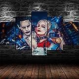 13Tdfc Cuadros Impresos En Lienzo Que Brillan En La Oscuridad 150X80Cm - 5 Piezas -Joke Y Harley Quinn Suicide Squad Enmarcado- Premium Lienzo De Tejido No Tejido XXL