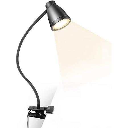【2021最新版】 クリップライト LED デスクライト 3段調色(暖色/昼光色/白色) 10段調光 USB式 23LED 8W 360°回転 長寿命50000時間 省エネ 明るい 目に優しい 卓上ライト 読書灯 デスクスタンド テーブルライト ナイトライト (黒色)