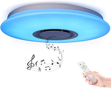HOREVO Plafón LED Lámpara de Techo Regulable con Altavoz Bluetooth 36W 50cm RGB Cambio de color
