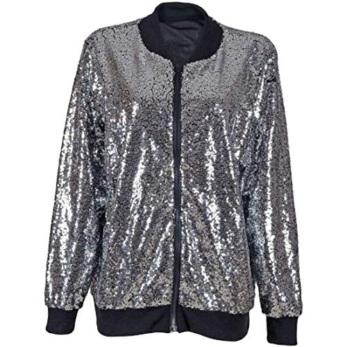 GESCHIKT MET STYLE Womens Zip Up Pailletten Glitter Lange Mouw Bomber Jacket Dames Dans Party Coat