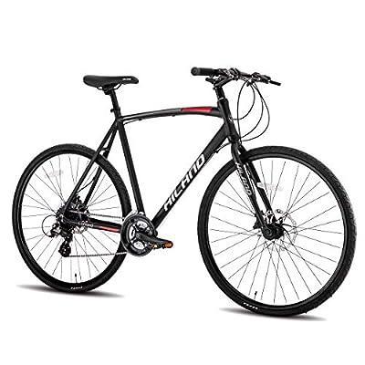 Hiland Road Hybrid Bike for Men Urban City Commuter Bicycle Silver M