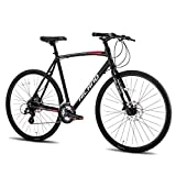 Hiland Road Hybrid Bike Urban City Commuter Bicycle with Disc Brake for Men Comfortable Bicycle 700C Wheels 24 speeds Bikes Black 53cm