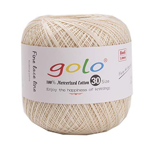 golo Häkelgarn Größe 30 zum Handstricken Baumwolle Häkelgarn Weizenfarbe