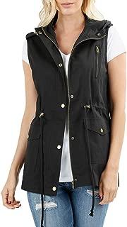 Women's Sleeveless Military Hooded Anorak Jacket Vest
