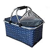 Cesta termica aislada, Plegable y Resistente Porta Alimentos con Asas de Aluminio Thermo Basket, Capacidad 28 litros, para Picnic, Playa, Barbacoa, con pies en la Parte Inferior Color Azul