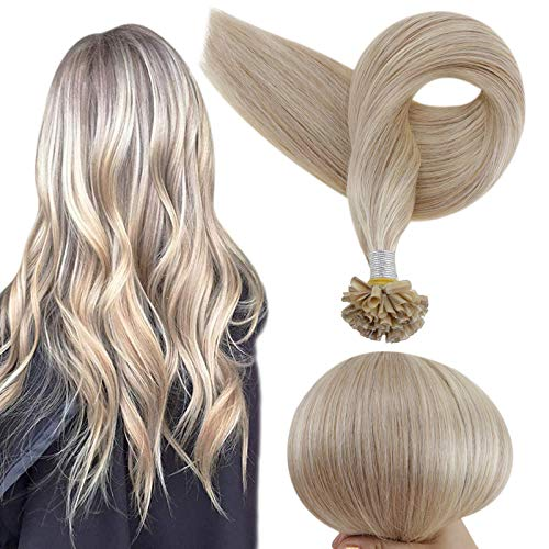 Full Shine 18 Inch Human Hair U Tip Hair Extensions 50 Gram Highlighted Color 18 Ash Blonde And 613 Mixed Blonde U Tip Fusion Extensions Prebonded Tipped Extensions Remy Human Hair Extensions