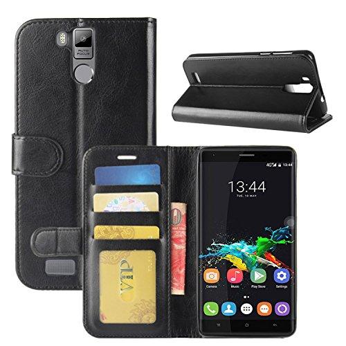 HualuBro Oukitel K6000 Pro Hülle, Retro PU Leder Leather Wallet HandyHülle Tasche Schutzhülle Flip Case Cover für Oukitel K6000 Pro Smartphone - Schwarz