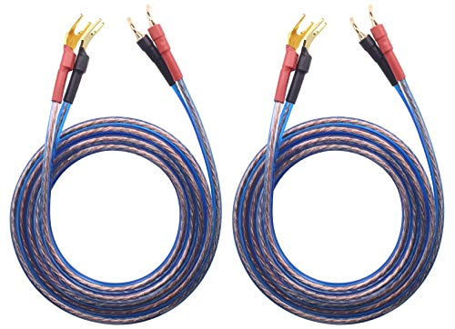 KK Cable YB-H 1pair Set(4 Spade Plug & 4 Pin Plug) HiFi OFC Speaker Wire, Spade Plug to Pin Type Plug. YB-H (1.5M(4.92ft))