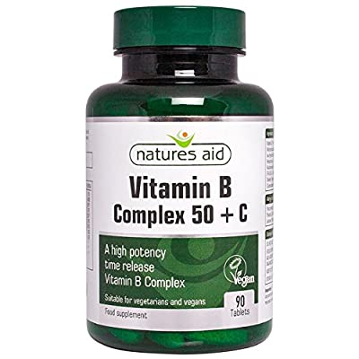 Natures Aid Vitamin B Complex 50 + C (High Potency) with Vitamin C - 90 Tablets