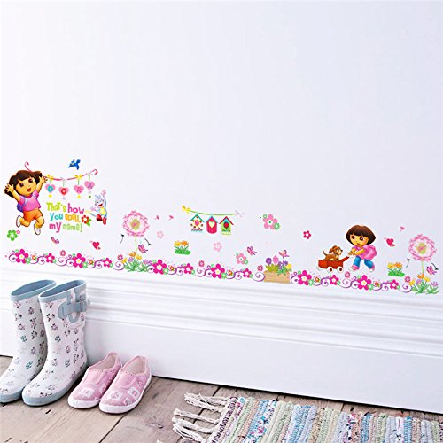 WLYUE Wall Decals, Cartoon Dora Boots Monkey Wall Stickers For Kids Rooms Garden Flower Decals Mural poster nursery room decor Children's gift
