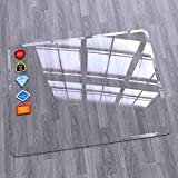 """Premium Tempered Glass Office Chair Mat 36""""x48"""" - Crystal Clear Desk Chair Mat for Carpet and Hardwood Floors - Heavy Duty Rolling Chair Mat for Home and Office Floor Protection"""