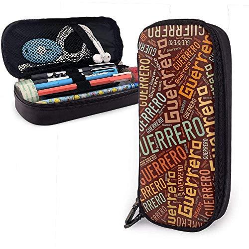 Guerrero - Apellido americano Estuche de cuero de gran capacidad Estuche de lápices Estuche de lápices Papelería Organizador Bolígrafo escolar Bolso de papelería para estudiantes