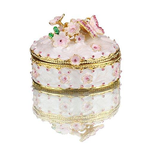 Desconocido H&D - Caja de joyería con bisagras para niñas, hecha a mano, decorada con cristal para regalo