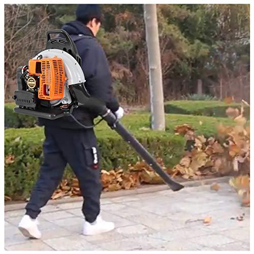 Uxinse Soplador de gasolina, 3H-p de alto rendimiento, alimentado por gas, soplador de hojas, 2 tiempos, 63 cc, naranja