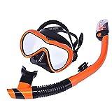 LBAFS Goggles Scuba Diving Mask Scuba Snorkel Set para Adultos Full-Dry Easy Breathe Anti-Fog Anti-Leak Snorkeling Gear,Orange