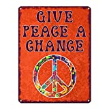 Give Peace A Chance, 9 x 12 Inch Metal Sign, 60s Era Hippie Quotes Wall Decor, Outtasight, Hippy, Groovy, Woodstock, Psychedelic, Love Theme Decorations and Retro and Vintage Gifts, RK3091 9x12