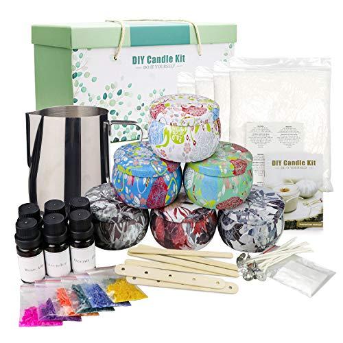 Kit de fabricación de velas perfumadas Herramienta para Principiantes, Kit Hecho a Mano de Velas de Cera de Soja, Que Incluye Olla, Pegatinas, latas, Cuchara, Clip y más