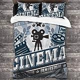 DmiGo Juego de Ropa de Cama-Cine, diseño de Carteles de Cine Vintage con Efecto Grunge e Iconos anticuados,Juego de Funda Nórdica y 2 Funda de Almohada(King 220x230cm)