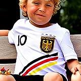 DE-Fanshop Deutschland Trikot mit GRATIS Wunschname Nummer Wappen Typ #D 2018 im EM/WM Weiss - Geschenke für Kinder,Jungen,Baby. Fußball T-Shirt personalisiert