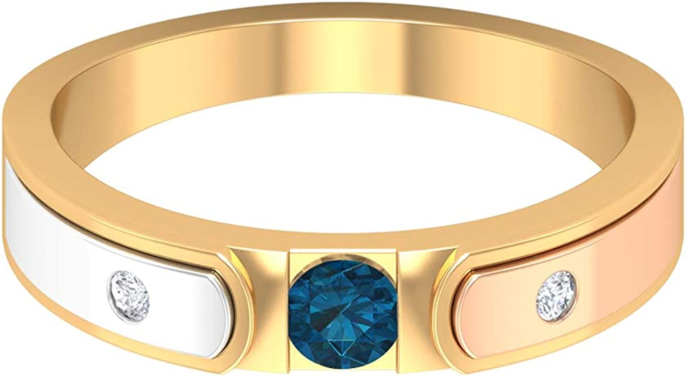 3.50 MM London Blue Topaz Solitaire Ring, HI-SI Diamond Band, Three Tone Ring, Gold Wedding Band (AAA Quality), 14K Gold