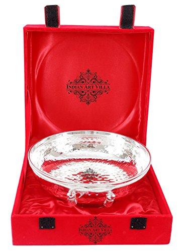 IndianArtVilla Plaqué Argent Motif Bol avec Rouge Boîte Cadeau   Maison Hôtel Décor Vaisselle Cadeau décoratif de l'article