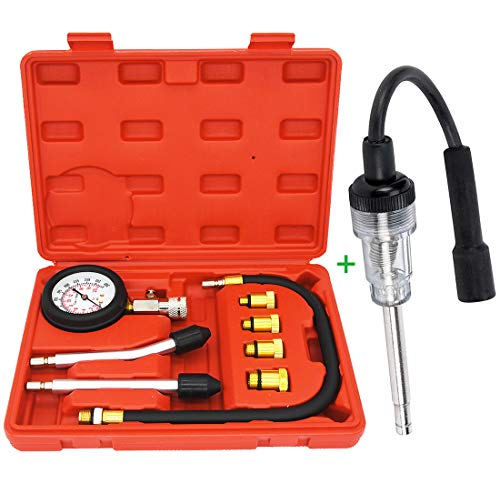 Petrol Engine Cylinder Compression Tester Kit(8 pcs) and Universal in-Line Spark Plug Engine Tester for Automotive, Car, Lawnmower, Small & Big Internal/External Engines Diagnostic