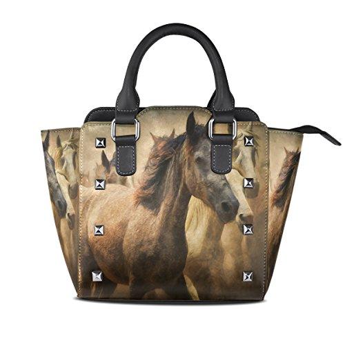 LIANCHENYI Damen-Handtasche mit Pferdemotiv aus PU-Leder mit Griff oben, Schultertasche, Umhängetasche, Kuriertasche