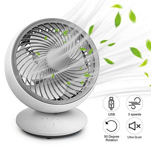 Ventilador de computadora, mini ventilador USB para cocina, ventilador de mesa pequeño, portátil, 3 velocidades, cabeza ajustable, 90 °, ventilador oscilante giratorio para el hogar, oficina, recámara, por ICARE