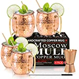 Moscow Mule Copper Mugs - Set of 4-100% HANDCRAFTED - Food Safe Pure Solid Copper Mugs - 16 oz Gift...
