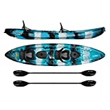 Vibe Kayaks Skipjack 120T 12 Foot Tandem Angler and Recreational Two Person Sit On Top Fishing Kayak (Sea Breeze 2 Deluxe) with 2 Paddles and 2 Seats and Flush Rod Holders