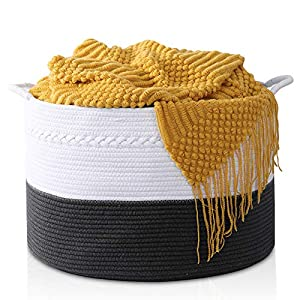 HAPPON Storage Basket XXXLarge Woven Laundry Hamper – 22″x22″x14″ Extra Large Nature Blanket Basket for Nursery Clothes Kids Toys Multifunctional Storage Bins with Handle