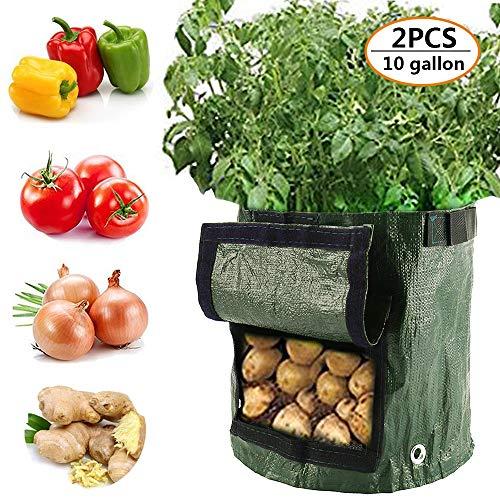 willkey 2 Pcs Sacs de Plantation de Jardin Sacs à Plantation de Pommes de Terre pour Faire Pousser des Légumes Grow Bag Pot Planter avec accès Rabat et des Poignées Robustes (10 gallons)