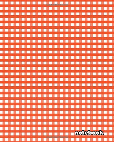 notebook: 8x10 cute lined journal notebook | cool notebook paper with page numbers and date | lined notebook college ruled | beautiful lined notebook ... plaid fabric pattern squares red color squars