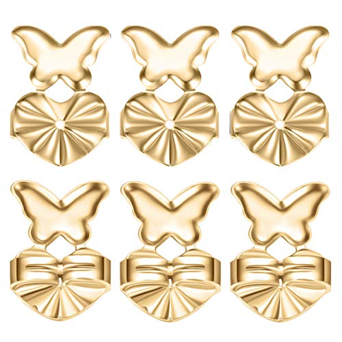 Fomissky Magic Earring Backs for Droopy Ears As Seen On TV, Secure Earring Lifters Earing Backs Replacements for Heavy Earrings 18K Gold Plated