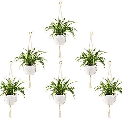 6 Stück Blumenampel Makramee Pflanzenhalter Wandbehang Pflanzer Korb Blumentopf Halter Boho Home Decor Innen Außen Decken Balkone Wanddekoration - 75cm, 2 Beine