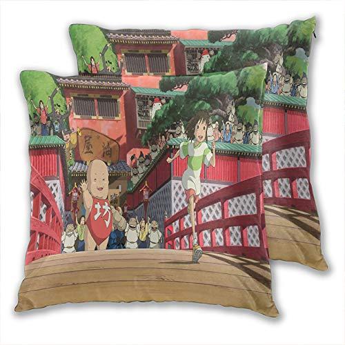 anzonto - Federa per cuscino per bambini, motivo anime, Miyazaki, Hayao Spirited Away per divano e poltrona, 40 x 40 cm, set da 2