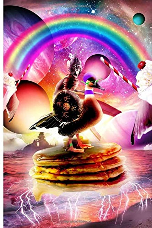 現実サッカー割合Cat Riding Goose With Pancakes And Milkshake Journal Notebook