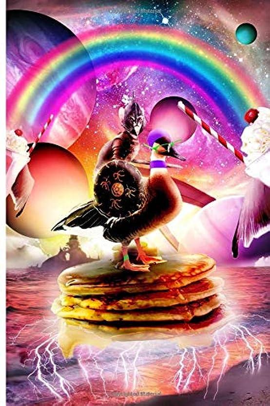 あごビジター空中Cat Riding Goose With Pancakes And Milkshake Journal Notebook