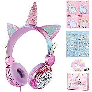 charlxee Kids Headphones with Microphone for School,Giant Unicorn Gifts for Girls Children Birthday,On Over Ear Wired…