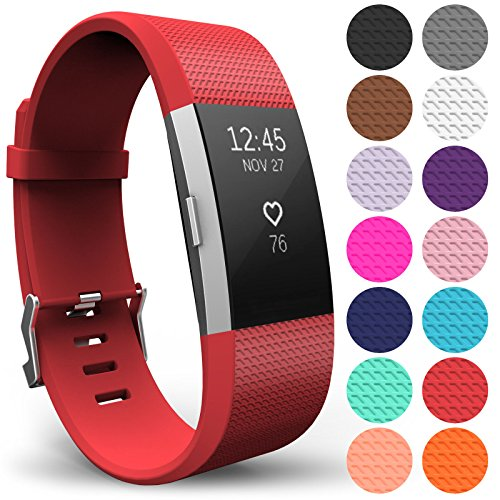 Yousave Accessories Armband Kompatibel mit Fitbit Charge 2, Ersatz Fitness Armband und Uhrenarmband, Silikon Sportarmband und Fitnessband, Wristband Armbänder für Fitbit Charge2 - Groß, Rot