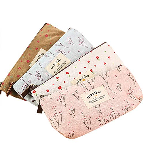 Rolybag Cute Floral Flower Canvas Zipper Pencil Cases, Multi-functional Cosmetic Makeup Bag lovely Flower Tree Fabric Coin Purse (4 Pcs)