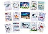 AnneSvea Postkarten Set 15 Stück Postcard Urlaubsgrüße Camper Bus Wohnmobil Wohnwagen Van Deko Meer Flamingo