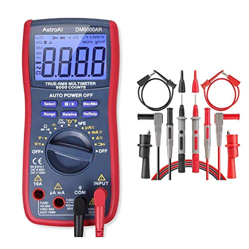 AstroAI Digital Multimeter TRMS 6000 & Test Leads Bundle