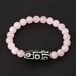 Naturstein Elastic Strand Armbänder Lava Pink Quarz Tibetische Perle Achate Dzi Armband Für Frauen Männer Schmuck-Rosenquarz