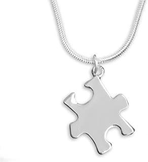 2 Pack Autism Awareness Silver Puzzle Piece Necklaces (2 Necklaces Individually Bagged)