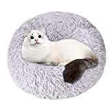 Swiftrans Round Donut Cat Bed Small Dog Bed Soft Fluffy Kitten Cushion Bed, 20 inch Cuddler Pet Bed for Cats Or Small Dogs, Waterproof Anti-Slip Bottom, Washable Calming Dog Bed Deep Sleep Puppy Bed